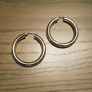 Silver toned hoops